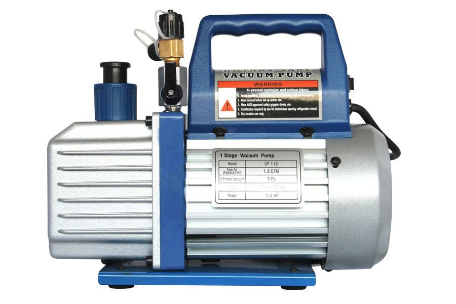 Ideal-Air HVAC 3 CFM Vacuum Pump High quality 3 CFM vacuum pump in a compact size. Comes with pump oil and a check valve. Quickly pull a vacuum with 3 cubic feet per minute vacuum rate.