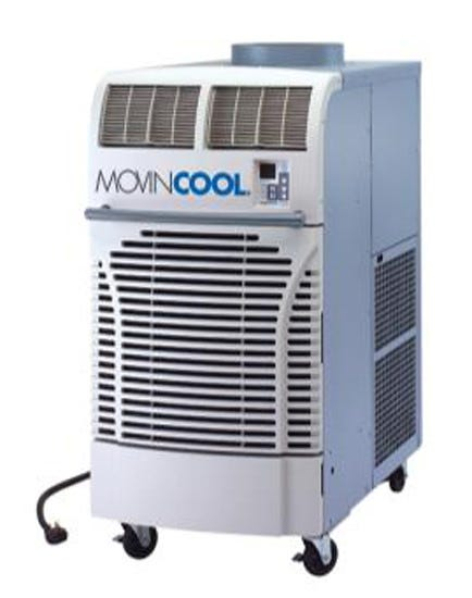 MovinCool 60,000 BTU/h Air-Cooled Portable A/C 460 Volt Providing up to 60,000 Btu/hr of cooling capacity, the Office Pro 63 portable air conditioner is specifically designed for cooling large gardens. It uses a self-contained, portable design. No 3rd party installation required. Just roll it in, plug it in, turn it on and your done. It's that simple (exhaust duct required in most cases). The Office Pro 63 features easy-to-use programmable controls allowing automatic operation. There are loads of easy to use accessories that allow you to adapt the Office Pro 36 to your particular garden design. Power requirements: Single phase, Three phase, 60 hz, 460V power. Dedicated circuit with 20 amp max fuse protection recommended. Uses a NEMA L16-20 plug on a 6 ft, 12 GA power cord. Typical power consumption during operation is 9.5 amps and 6,600 watts. Unit weighs 705 lb unboxed and 835 lb boxed. Unit dimensions are 30 in wide, 52 in deep and 64 in tall. Operating conditions are 65° - 105° deg F. Max Duct lengths are 100 ft on condenser (hot air) and 40 ft on supply air (cold air). Noise level is 69 dB.