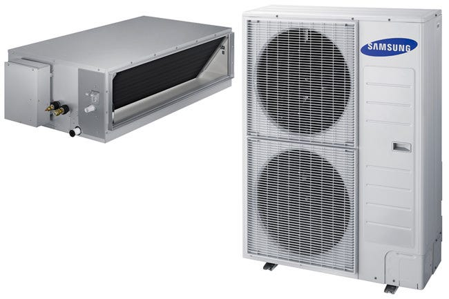 Samsung Mini Split System Ceiling Mounted Head 20+ SEER - Heating & Cooling - 48,000 BTU 48,000 BTU Heating & Cooling Ductable, Ceiling Hung system. Professional Install Only. 208/230 Volt, 1 phase. Minimum circuit 25 amps. Requires 3/8 in x 5/8 in Line set (700577 & 700579 sold separately). Includes: (1) 48K BTU ceiling hung indoor unit. SEER = 18.1, HSPF = 9.6 The Samsung Wireless Interface Kit for the 48,000 BTU Unit (700542) is required for operation but sold separately, Requires 3/8 in x 5/8 in Line set (700577 & 700579 sold separately). This kit includes the receiver, wall display and 32 ft wire harness to interface with the Samsung Wireless Controller (700544), which is also sold separately but required for operation. Refrigerant line sets are offered separately and should be installed by a qualified HVAC Technician.