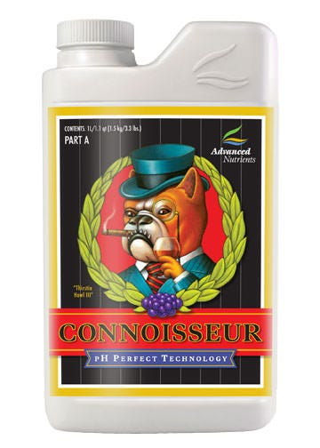 Advanced Nutrients - Connoisseur Bloom Part A pH Perfect 1 L The combination of the pH Perfect Technology, simplified mixing rates, and level of chelation in the balanced nutrient ratios ensure that crops always have access to the highest level of nutrition and vitality boosters as possible and: Promotes Consistently heavy yields Pharmaceutical-grade precursors, reagents and chelators Proteinate forms of micronutrients Ensures all nutrients are available in a solubilized state Ensures balanced plant nutrition across a wide range of pH and temperatures More Budding Sites Earlier Peak Flowering Larger, Denser Flowers More Essential Oils More Aromatics More Taste More Attractive Flowers Higher Market Price For Flowers Growers using the pH Perfect Nutrient Line will not have to worry about pH in their nutrient solutions, because the new formulas are able to adjust the pH to optimal pH range automatically! Combining a perfect pH level with these cutting edge chelates has growers reporting back with a new standard in yield expectations. As with all liquid fertilizers, we recommend shaking Connoisseur before use. You can use Sensi Grow on its own or in combination with other products. With pH perfect technology, you will completely eliminate checking your pH forever! As long as your water being used falls between 4.5 and 8.5 pH (which is pretty much everyone's water) - this technology will adjust your pH for you, and keep it buffered throughout your plants growth phase!  Ingredients: Boron Chelate Calcium Amino Chelate Calcium EDTA Calcium Nitrate Cobalt Chelate Cobalt EDTA Copper Chelate Copper EDTA Di-Potassium Phosphate Iron Chelate Iron DPTA Iron EDDHA Iron EDTA Magnesium EDTA Magnesium Nitrate Magnesium Phosphate Magnesium Sulfate Manganese Chelate Manganese EDTA Molybdenum Chelate Mono Potassium Phosphate Potassium Nitrate Potassium Sulfate Proprietary Blend of Fractionated Plant Extracts Urea Zinc Chelate Zinc EDTA
