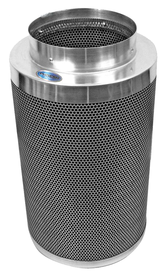 "Phresh Filter 6 in x 24 in 550 CFM Phresh Filter 6  x 24  550 CFM Carbon Filter for Grow Rooms Phresh filters are state of the art carbon filters that practically scour the air to make it clean of dust, foreign particulates, organic compounds and odors. Compared to their competitors, Phresh carbon filters are half the weight, last twice as long, have the largest selection of sized to choose from, and are very competitively priced. Phresh filters rely on the unique properties of high grade RC-48 activated carbon, found exclusively in Western Australia. These filters are currently being used in research labs, plant breeding, tissue culture, indoor gardening, backyard and commercial greenhouses. Phresh carbon filters are professional-grade system designed to meet the demands of serious hobbyists and commercial applications. Use our convenient Size Calculator to determine which Phresh Filter is right for you! Phresh Size Calculator. Aluminum tops and bases for reduced weight. Half the weight of other filters. 46mm (1.8 ) RC-48 activated, certified virgin carbon bed. Machine packed carbon means more carbon and less movement. Cone shaped internal base for optimum air flow. Sealed, bagged, boxed and labeled directly after being manufactured for optimum life span, handling and presentation. 51% open air custom mesh. Unique ""Anti Air Bypass"" System. Large selection of sizes available to fit any application. Flange & pre-filter included. 4  x 8  to 8  x 24  sizes only can be sent via UPS. SKU / Flange Size / Length / CFM 701000 Phresh® Filters 4  x 8  150 701003 Phresh® Filters 4  x 12  200 701005 Phresh® Filters 6  x 16  400 701010 Phresh® Filters 6  x 24  550 701015 Phresh® Filters 8  x 24  750 701018 Phresh® Filters 8  x 39  950 701020 Phresh® Filters 10  x 24  850 701025 Phresh® Filters 10  x 39  1,400 701030 Phresh® Filters 12  x 39  1,700 701035 Phresh® Filters 14  x 39  2,100 701040 Phresh® Filters 14  x 48  2,500 701045 Phresh® Filters 14  x 50  3,800 For more information visit www."