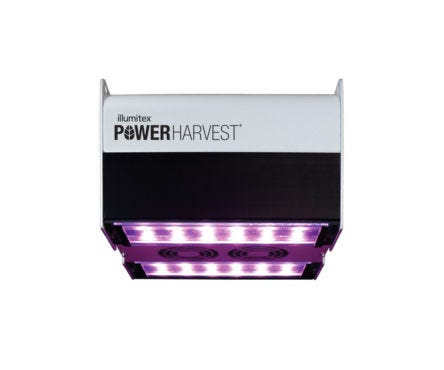 "Illumitex PowerHarvest W 100-277V 290 Watts Illumitex PowerHarvest W 100-277V The Illumitex PowerHarvest W 100-277V is available in 500 PPF (µmol/s). It is designed and tested specifically for indoor grow operations, including greenhouses. These scientifically developed and patented horticultural growth spectra and high power LEDs combined with wide distribution optics ensure optimum plant growth and the highest yields. The wireless controls option equips growers with the ability to easily control one fixture or thousands of fixtures from a laptop computer, tablet or smart phone. All Power Harvest fixtures ship ""controls ready."" The Illumitex PowerHarvest is ultra-high efficient (94.5%). It has constant-current drivers and 6kV input surge suppression making it suitable for wet locations. Dimming and on/off control can be utilitzed in conjunction with optional wireless controls. The Illumitex PowerHarvest W LED offers excellent thermal management by means of a custom, extruded aluminum heat sink. Venting slots at either end of the fixture and dual, replaceable, high-efficiency cooling fans provide further cooling. Fan assemblies can be easily removed in the field via tool-less wiring connectors for cleaning or replacement. The Illumitex PowerHarvest W utilizes wide angle (120°) multi-chip LED packages to combine multiple wavelengths, creating a spectrum ideal for various horticulture applications and needs. It uses highly efficient, AR-coated, tempered-glass lenses to protect the LEDs while allowing 98% transmission of photons. F3 Wavelength Mix Blue (400 - 499 nm) 22.4 ± 1.3% Green (500 - 599 nm) 13.4 ± 0.6% Red (600 - 699 nm) 63.9 ± 0.8% Far Red (700 - 780 nm) 0.4 ± 0.1% Testing and Compliance ETL/cETL listed and CE marking compliant RoHS compliant EMI compliance (FCC Part 15) 50,000 hour life to L70 5-year warranty Rated to 40°C ambient operating temp"