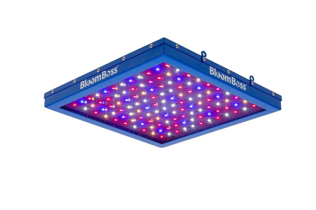 BloomBoss PowerPanel LED Grow Light - Veg Spectrum *DISCONTINUED* This item has been discontinued, Please try our selection of LED Lights for an alternative. BloomBoss PowerPanel LED Grow Light - Veg Spectrum The BloomBoss PowerPanel LED Grow Light is a great alternative to fluorescent bulbs. It is well suited for growth stages of your crop. The BloomBoss PowerPanel LED Grow Light uses only 32 watts of power, runs cool, and operates silently while providing your plants with the optimal light spectrum for growth. It's heavy duty construction features a customized steel case for increased durability. BloomBoss PowerPanel LED Grow Light Energy Savings Benefits: Lifespan 50,000+ hours No expensive and dangerous bulbs to replace…ever! Compares to one 4 bulb, 2-foot T5 florescent fixture (96 Watts) while consuming only 32 Watts More environmentally friendly compared to traditional lighting, contains no mercury and is recyclable BloomBoss PowerPanel LED Grow Light Features: Promotes fast growth intended for the early stages of plant life Runs cool with completely silent operation LED bypass protectors on each chip for longer life 5 Year Manufacturer's Warranty with Lifetime Technical Support BloomBoss PowerPanel LED Grow Light Specifications: Power Usage: 32 Watts (120) High Intensity 0.5W SMD 5050 LED Chips Voltage: AC 100-240V Operating Temperature: -4 °F~122 °F Dimensions: 12 ¼   Length x 12 ¼   Width x 1 3/4  Deep Weight: 5.4 lbs. In the Box: BloomBoss PowerPanel TrueSun LED Grow Light with an extra long 10-foot cable Power Cord (120V) Mounting Kit offers multiple options for hanging under metal shelving, wooden shelving, from rope ratchets or wherever! BloomBoss PowerPanel LED Grow Light Growing Tips: Total coverage area: 2' x 2' Distance from light to plants: 6 to 18 inches