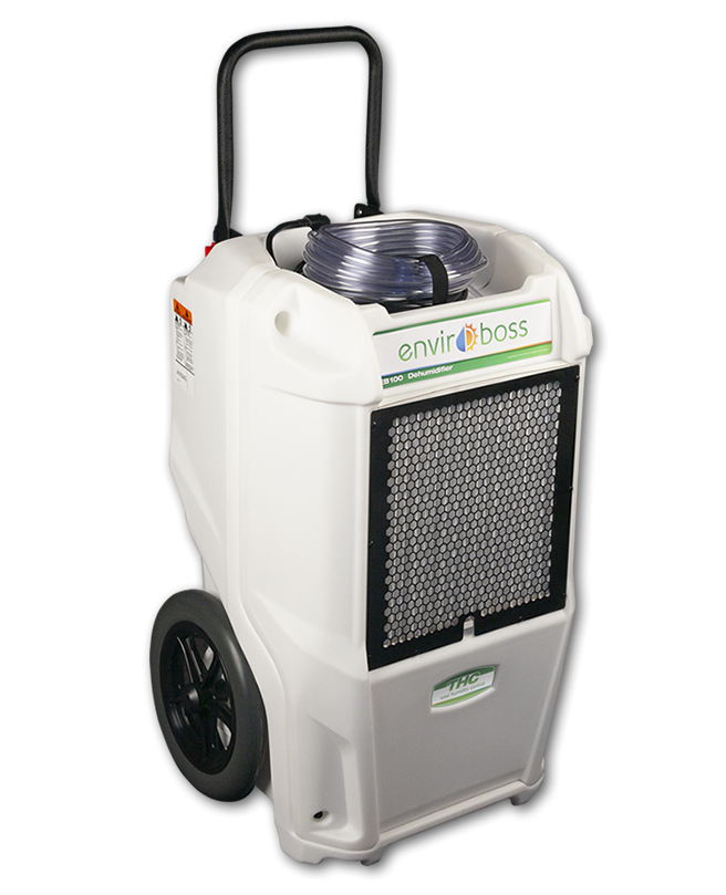 Dri-Eaz Enviroboss EB100 100 Pint Commercial Dehumidifier The EB100 Dehumidifier reduces humidity in enclosed environments by removing water vapor from the air. With proper use, the EB100 can help maintain humidity at optimal ranges throughout the growing and processing stages. Carefully controlling humidity can increase yields and reduce the risk of mold or powdery mildew that can reduce profits. ALL ENVIROBOSS DEHUMIDIFIERS include onboard digital humidistats, automatic pump-outs, and automatic restart after power outages. With EnviroBoss dehumidifiers, view inlet and outlet temperature and relative humidity readings, plus set an RH% target. The dehumidifiers' automatic restart after power outages provides peace of mind. Built-in automatic pump-outs make it convenient to collect water for reuse and units are easy to maintain, reducing downtime for servicing. Rotomolded housings are covered by a lifetime limited warranty, and refrigeration systems are warranted for six years. The Dri-Eaz Enviroboss EB100 Commercial Dehumidifier is a commercial dehumidifier capable of removing up to 12 gallons per day. Why does controlling humidity and airflow matter? Controlling humidity helps ensure healthy plants. When there's too much or too little water in the air at different growth stages, it impacts growth progress and nutrient intake. For example, too much humidity or even moisture directly on leaves can cause white powdery mildew or rot/mold and too little humidity can cause problems such as nutrient burn. Air flow helps aid evaporation, adds cooling when needed and promotes circulation. What do EnviroBoss dehumidifiers deliver that others don't? Information you need to optimize grow environment humidity - inlet and outlet temperature, Relative Humidity readings and built-in digital humidistats for setting a target RH%. No other dehumidifier offers this level of onboard intelligence! What else makes EnviroBoss the right choice? Limited lifetime warranties on housings and 6