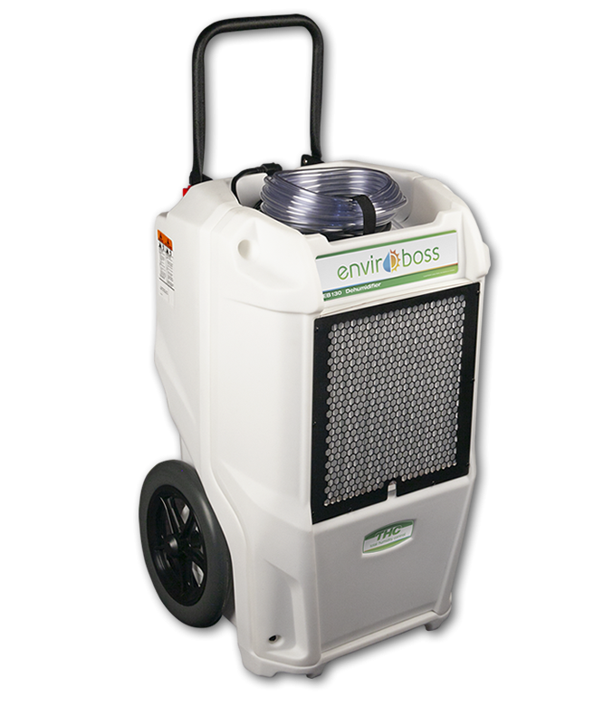 Dri-Eaz Enviroboss EB130 130 Pint Commercial Dehumidifier The EB130 Dehumidifier reduces humidity in enclosed environments by removing water vapor from the air. With proper use, the EB130 can help maintain humidity at optimal ranges throughout the growing and processing stages. Carefully controlling humidity can increase yields and reduce the risk of mold or powdery mildew that can reduce profits. ALL ENVIROBOSS DEHUMIDIFIERS include onboard digital humidistats, automatic pump-outs, and automatic restart after power outages. With EnviroBoss dehumidifiers, view inlet and outlet temperature and relative humidity readings, plus set an RH% target. The dehumidifiers' automatic restart after power outages provides peace of mind. Built-in automatic pump-outs make it convenient to collect water for reuse and units are easy to maintain, reducing downtime for servicing. Rotomolded housings are covered by a lifetime limited warranty, and refrigeration systems are warranted for six years. The Dri-Eaz Enviroboss EB130 Commercial Dehumidifier is a commercial dehumidifier capable of removing up to 16 gallons per day. Why does controlling humidity and airflow matter? Controlling humidity helps ensure healthy plants. When there's too much or too little water in the air at different growth stages, it impacts growth progress and nutrient intake. For example, too much humidity or even moisture directly on leaves can cause white powdery mildew or rot/mold and too little humidity can cause problems such as nutrient burn. Air flow helps aid evaporation, adds cooling when needed and promotes circulation. What do EnviroBoss dehumidifiers deliver that others don't? Information you need to optimize grow environment humidity - inlet and outlet temperature, Relative Humidity readings and built-in digital humidistats for setting a target RH%. No other dehumidifier offers this level of onboard intelligence! What else makes EnviroBoss the right choice? Limited lifetime warranties on housings and 6