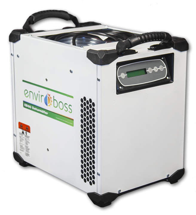 Dri-Eaz Enviroboss EB60 60 Pint Commercial Dehumidifier The EB60 Dehumidifier reduces humidity in enclosed environments by removing water vapor from the air. With proper use, the EB60 can help maintain humidity at optimal ranges throughout the growing and processing stages. Carefully controlling humidity can increase yields and reduce the risk of mold or powdery mildew that can reduce profits. ALL ENVIROBOSS DEHUMIDIFIERS include onboard digital humidistats, automatic pump-outs, and automatic restart after power outages. With EnviroBoss dehumidifiers, view inlet and outlet temperature and relative humidity readings, plus set an RH% target. The dehumidifiers' automatic restart after power outages provides peace of mind. Built-in automatic pump-outs make it convenient to collect water for reuse and units are easy to maintain, reducing downtime for servicing. Rotomolded housings are covered by a lifetime limited warranty, and refrigeration systems are warranted for six years. The Dri-Eaz Enviroboss EB60 Commercial Dehumidifier is a commercial dehumidifier capable of removing up to 8 gallons per day. It is ideal for smaller rooms. Why does controlling humidity and airflow matter? Controlling humidity helps ensure healthy plants. When there's too much or too little water in the air at different growth stages, it impacts growth progress and nutrient intake. For example, too much humidity or even moisture directly on leaves can cause white powdery mildew or rot/mold and too little humidity can cause problems such as nutrient burn. Air flow helps aid evaporation, adds cooling when needed and promotes circulation. What do EnviroBoss dehumidifiers deliver that others don't? Information you need to optimize grow environment humidity - inlet and outlet temperature, Relative Humidity readings and built-in digital humidistats for setting a target RH%. No other dehumidifier offers this level of onboard intelligence! What else makes EnviroBoss the right choice? Limited lifetime war