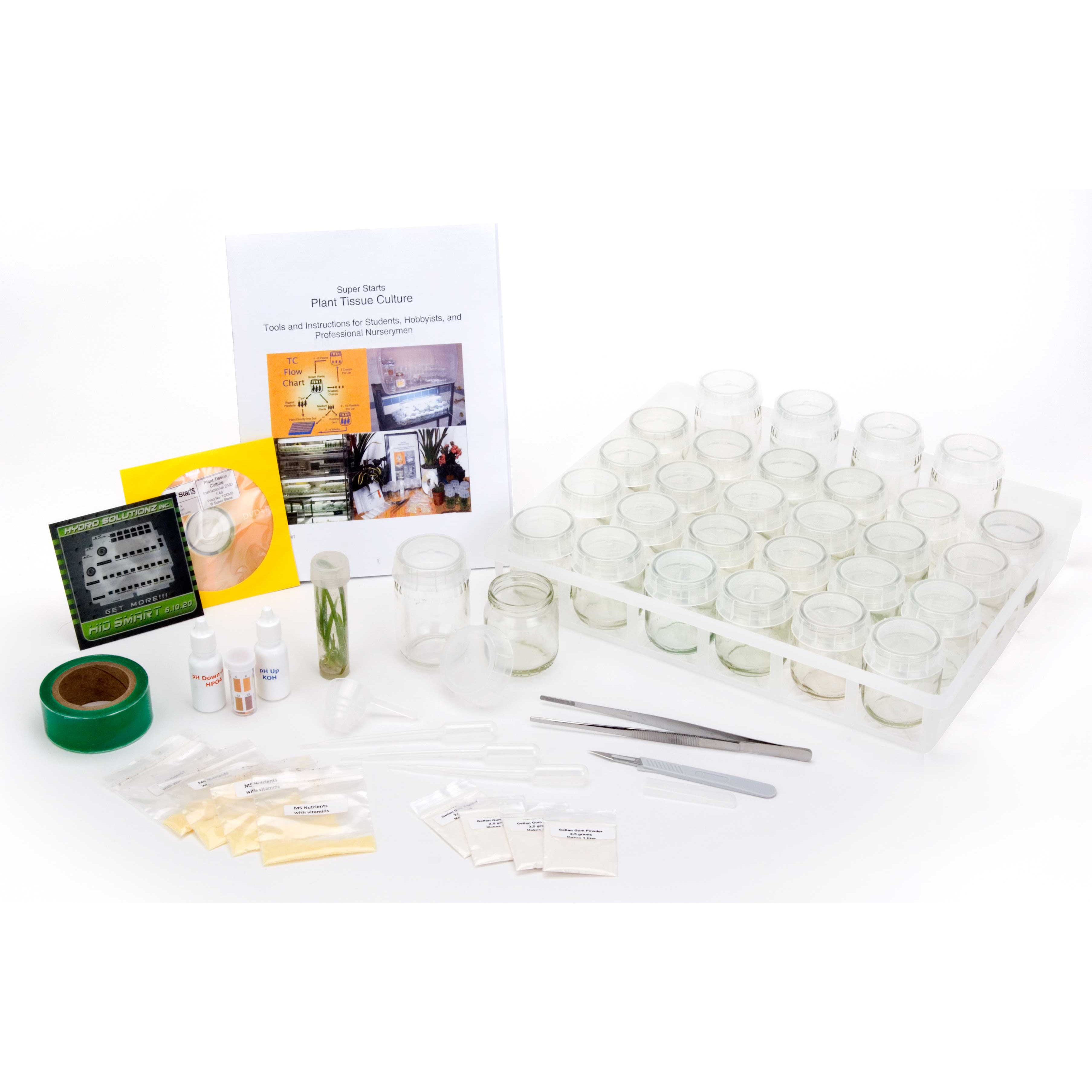 MicroClone - SuperStarts - Plant Tissue Culture Kit Tissue culture is the cloning method used by nurseries and biotech to produce the thousands of clones they make every day. Microclone and Pure Food have taken the best parts of the commercial tissue culture and put them together into the home tissue culture kits. Now home users, hobbyists, and small commercial gardeners can produce their own plants in whatever numbers they need. The benefits of tissue culture: Save time Save space Save power Save money Replaces large mother plants No bugs, no mold, no maintenance Produces seedling quality plants from clones Easy and fun Unlock hidden genetics Ship and transport your favorite plants Grow dozens of bonsai mother  jars  on a media of sugar, agar, nutrients and hormone from small meristem pieces in small self-contained vessels. One liter of media produces 200 clones per month and the kits contain four liters to start. The plants are cleaned before going into the tissue culture tubes and the jars are prepared by cooking in a stove pressure cooker. TC plants need only 10 watt/sf light so two T5 lamps on a shelf grow 4 trays or 200 containers. The Super Starts micropropagation kit contains the tools, ingredients, manual and DVD to successfully do plant tissue culture at home. Kit includes: 50 6oz flip-top vials 30 clear plastic jar lids 16 starter poly test tubes with screw lids in tray 5ml PPM antifungal/antibacterial preservative 1 establish/multiplication media kit with BA hormone 1 rooting/growth media kits with NAA hormone 2 establish/multiplication TDZ media kits with TDZ hormone for branching and woody plants 1 stainless steel scalpel #3 and 2 #11 blades 8-inch stainless steel forceps PVC sealing tape pH control kit with test papers and correction solutions 50-page instructional manual with color photos and illustrations DVD instruction video Washing screen and ring for standard mouth jars