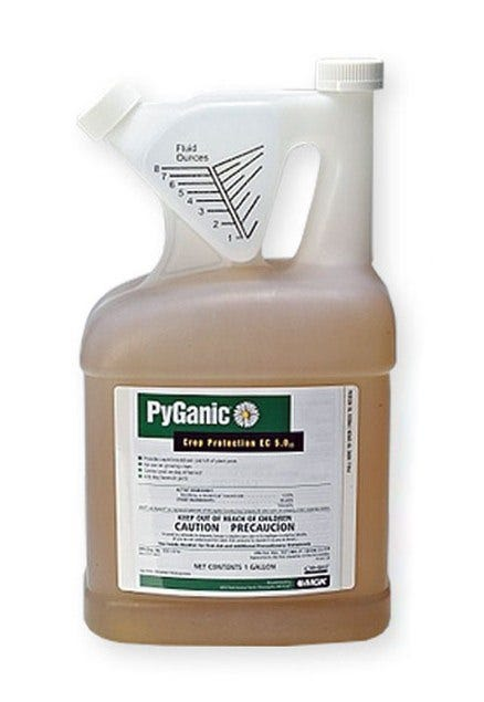 PyGanic Crop Protection EC 5.0 - 1 gallon PyGanic® Crop Protection EC 5.0 delivers consistent, reliable knockdown and controls some of the most-damaging and pervasive insects on your crops. Organically-compliant, PyGanic controls a broad-spectrum of insects on virtually every type of crop and requires no pre-harvest interval or restrictions on the number of applications that can be made per year. PyGanic comes in easy-to-use gallon and quart containers that enable the grower flexibility at the time of application according to pest pressure. PyGanic is compatible with IPM, farm safety and Worker Protection Standards (WPS) given its user friendly toxicity profile. It is ideal for Organic growers who need insecticide options for hard-to-control insects. PyGanic is made with botanically-derived active ingredients that have a high impact on pests. When you need immediate insect control or a knockdown in the garden, on crops, or on your livestock PyGanic Crop Protection EC 5.0 II is the best pyrethrin product available on the market today. Pyrethrins are derived from chrysanthemums. For Plants and Crops: PyGanic has been approved for use against more than 40 insects on more than 200 fruits and vegetables. It can be used in any season, whenever an insect infestation is observed. PyGanic has an REI of 12 hours. It can be applied on the day of harvest - allowing for the 12 hours REI. PyGanic has been approved for use on all growing crops, landscape and ornamental plants, in homes and other structures such as greenhouses and shade houses. This product can be effectively sprayed using a wide variety of equipment. Protect your beneficial insects: PyGanic is a broad-spectrum insecticide and WILL KILL BENEFICIAL INSECTS INCLUDING HONEY BEES (Please consider carefully before using this product out doors and do not use on plants with open flowers) To minimize impact, It is advisable to apply it early in the morning or at dusk to avoid killing bees. If other beneficial's have already been put in place, plan to reapply them