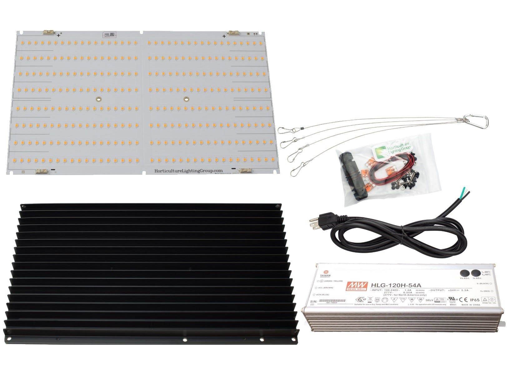 Horticulture Lighting Group HLG 135W QB V2 LED Kit *DISCONTINUED* READY TO ASSEMBLE 135W LED V2 BOARD KIT 135 Watt Lamp Kit. High-Efficiency QB288 V2 powered with Samsung top bin Diodes. Suited for main light and supplement lighting. Dimmable:60-150 Watts Veg Footprint:3x3 sqft Recommended Flower Footprint:2x2 sqft Max Flower Footprint:2x3 sqft INCLUDES QB288 Board. Made by Samsung with 301B LED 1x Slate 2 Predrilled 340mm Heatsink Meanwell HLG-120H-54A LED Driver. 93.5% Driver Efficiency 6FT NEMA 5-15P 16/3 SJTW NA Power Cord or equivalent for standard 120VAC with cable connector 2ft solid core Wire, 2x Wago Connectors for DC wiring Hanger Clips Lamp Efficacy with QB 288 V2 2.41 µmol/J , 166Lm/W Board Level Efficacy with QB 288 V2 2.58 µmol/J , 177.5Lm/W LED Gardener Review & Assembly No Thermal Interface Material is required between the LED board and the heatsink Remove black plug on driver and use Philips head screwdriver for dimming NOTE: Boards should be wired in series with the driver for maximum output