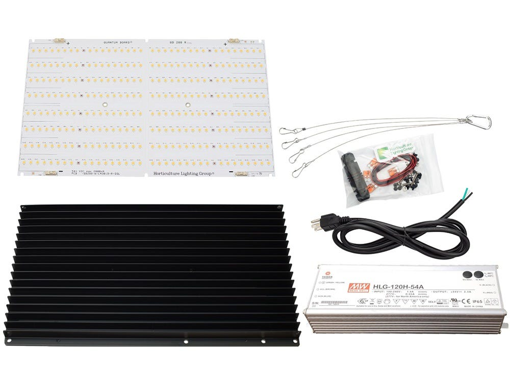 Horticulture Lighting Group HLG 135W QB V2 LED Kit - R spec 135 Watt Lamp Kit. High-Efficiency QB288 V2 R spec powered with Samsung LM301B and Osram SSL. Suited for main light and supplement lighting. Dimmable: 60-150Watts Veg Footprint:3x3 sqft Recommended Flower Footprint:2x2 sqft Max Flower Footprint:2x3 sqft INCLUDES QB288 V2 R spec 1x Slate 2 Predrilled 340mm Heatsink Meanwell HLG-120H-54A LED Driver. 93.5% Driver Efficiency 6FT Nema 5-15P 16/3 SJTW NA Power Cord or equivalent for standard 120VAC with cable connector 2ft solid core Wire, 2x Wago Connectors for DC wiring Hanger Clips Lamp Efficacy with QB288 V2 Rspec 25 µmol/J Board Level Efficacy with QB288 V2 Rspec 2.68 µmol/J LED Gardener Review & Assembly or V1 No Thermal Interface Material is required between the LED board and the heatsink Remove black plug on driver and use Philips head screwdriver for dimming NOTE: Boards should be wired in series with the driver for maximum output