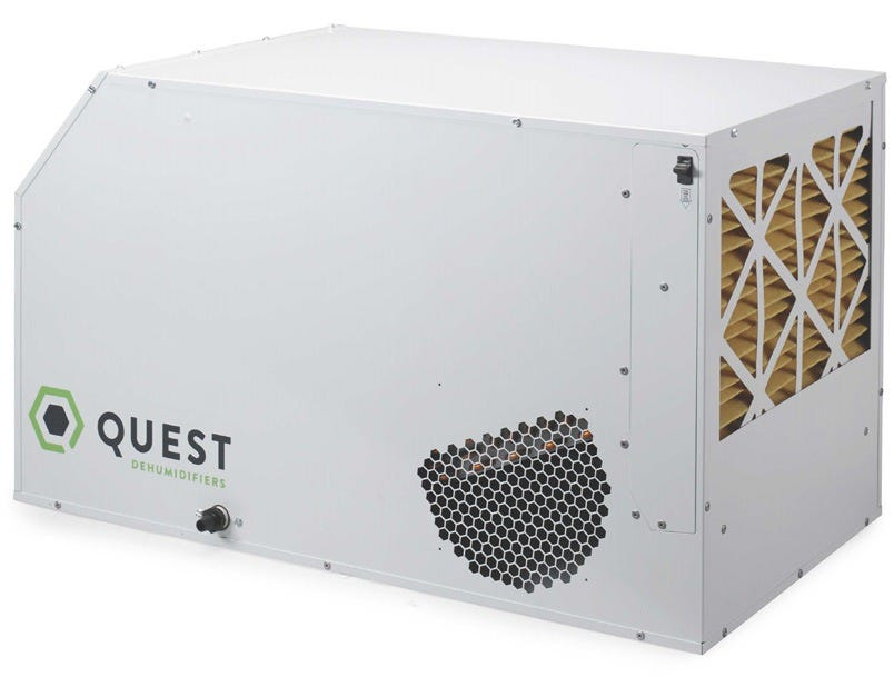 Quest Dual 165 Overhead Dehumidifier - 220-240V Quest Dual 165 is in fact the industry's first 230 volt commercial dehumidifier! Like all Quest products you have the option of placing it ground level for plug and play operation or hung overhead up and out of the way. The Dual 165 is one of the most energy efficient dehumidifiers out right now performing using minimal amps (4.1) and maximum efficiency (6.8 pints/kWh). Made in the USA for highest safety and environmental standards The Quest Dual 165 is UL-listed and ETL certified. Manufactured in the USA and built to last, it comes with a five-year powertrain warranty. The Dual 165 uses environmentally-friendly R410A refrigerant. Created using high environmental standards allows the Quest Dual 165 to create reusable water that's safe to use on consumable plants. Produces Reusable Water Quest dehumidifiers produce very low TDS water with neutral pH. This water is safe to reuse for all plants, even consumable ones. (With Best Practices) Best Practices to Reuse Condensate Water Run your dehumidifier if it's been idle first If your dehumidifier has been sitting idle, run it for three days before using any condensate water from it. (Dehumidifiers that are allowed to sit for more than a couple of days should be dried out as completely as possible, to discourage mold growth.) Test condensate: Be sure it's free of contaminates Contaminate levels should be low enough and well within acceptable limits as long as your dehumidifier is in good working order and has proper filtration. It is always a good idea to test condensate water for heavy metals, nitrates, and bacteria – and state law may require you to if you are a commercial grower. Keep your dehumidifier and filter clean Quest dehumidifiers will produce condensate water that can be used as-is, as long as you keep the filter in place and clean regularly. Dust, bacteria, and other pollutants can contaminate condensate water if the dehumidifier's filter is absent or not mainta