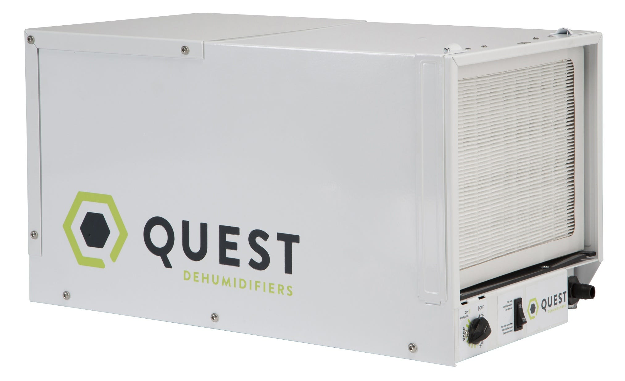 """Quest 70 Pint Dehumidifier - Factory Remanufactured - 3 Year Warranty These are Quest remanufactured (refurbished) units, not new units. These Quest units were remanufactured directly at the Quest factory, and get a 3 year warranty directly from the Quest brand. Many of the issues tended to be minor or cosmetic. Quest 70 Pint Dehumidifier The Quest 70 pint Dehumidifier is versatile. It can be placed overhead and out of the way of your grow operation. It can also be setup and run at ground level for your ease. The Quest 70 pint Dehumidifier was engineered to provide solid performance, improved value over previous models, and excellent energy efficiency. The Quest 70 pint Dehumidifier gives you excellent performance in challenging and constrained grow spaces. This model runs at 115 Volt, 60Hz, and 5.1 Amps. It is highly efficient at 2.37 L/kwh (5.0 Pints/kwh). It can be run between 33° F and 110° F. It is made in the USA and has a one year warranty for parts and labor and a five year warranty for the compressor and refrigerant system. Quest 70 Pint Dehumidifier Specifications: Part Number: 4033750 Blower: 150 CFM @ 0.0  WG Power: 680 Watts @ 80°F and 60% RH Supply Voltage: 110-120 VAC - 1 Phase - 60 Hz Amps: 5.1 Energy Factor: 2.37 L/kWh Operating Range: 33°F - 110°F Minimum Performance @ 80°F and 60% RH: Water Removal: 70 Pints/Day Efficiency: 5.0 Pints/kWh Air Filter: MERV-13, 12"""" x 12"""" x 1"""" Power Cord: 8' - 115 Volt Grounded Plug Drain Connection: 3/4"""" Threaded NPT or 5/8"""" Hose Barb Warranty: 1 year 100% parts and labor 5 year sealed refrigerant system Dimensions: 26.8  X 17.6  X 17.7  FIRST YEAR WARRANTY: Therma-Stor LLC warrants that, for one (1) year after date of original purchase the Quest 70 Dehumidifier will operate free from any defects in materials and workmanship. Therma-Stor LLC's exclusive obligation under this warranty will be to supply, without charge, a replacement for the dehumidifier which is found to be defective within a one (1) year period from """