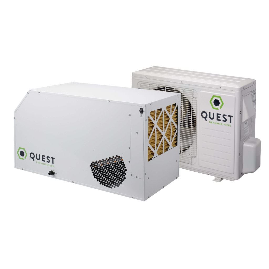Quest 185 Cool Quest 185 Cool The Quest 185 Cool is a very efficient split-system dehumidifier that removes from your grow room 184 ppd of water AND 4300 BTUs/hr of heat. Its two piece design transfers the sensible heat normally generated by the dehumidifier inside the room to the condensing unit (located outside the room). Removing this unwanted heat minimizes wasted energy by reducing room air conditioner run time. Like all Quest products, the Quest 185 Cool is made in the USA using the very best components and materials available. Every one of our dehumidifiers comes with a 5 year warranty. Dehumidifier capacities are at the standard American rating condition of 80ºF and 60%RH. 185 pints per day at 80°F/60% RH 1.4 amps 110-120V 6.6 pints/kWh 4300 BTUs/Hour Cooling 24V control Merv 11 filtration Made in the USA 5 year warranty Condenser: 9.7 amps Condenser: 110-120V