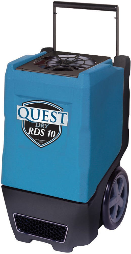Quest Dry RDS 10 Dehumidifier - 80 Pints per day *DISCONTINUED* This item has been discontinued, Please try our selection of Dehumidifiers for an alternative. Quest Dry RDS 10 combines the high performance of larger dehumidifers into a compact, state of the art, rotomold design. A solid- state control panel features a lighted hour meter, pump purge control and a defrost light. The recessed 12-inch wheels, compact design and balanced weight distribution make both RDS 10 easy to handle, even in the tightest of spaces. The pleated media air filter is conveniently located on the top of these units, for quick and easy replacement. All of these features are standard on these competitively priced, durable and high performing units from the climate control experts at Quest. Dehumidifies 80 pints/day @ 80°F/60%RH at just 5.4 amps. The Quest Dry RDS 10 offers improved performance over the PowerDry 1300, while only drawing 4/10ths of an amp more current. Comes with a high capacity pleated filter. The superior Merv 7 filtration of the RDS 10 is designed to capture mold, spores, pollen and dust – effectively cleansing the room of dangerous particles. Lightweight and portable - 12 in wheels and retractable handle with 20 ft 120V power cord. Has flexible controls and a small footprint at 20 in x 20 in. Includes an internal pump with 33 ft detachable hose. The heavy duty ROTO case will resists dents and dings. Warranty and Support: Provided by Quest. 1 year parts and labor • 5 year compressor and refrigerant system Part No.:	4029630 Power: 5.4 amps, 110V Water Removal: 80 Pints/Day @80°F, 60%RH Efficiency: 5.2 Pints/kWh Sized For: 3,600 Square Feet Blower: 230 CFM Operating Temp:	33°F to 105°F W x H x D: 20″ x 33.5″ x 20″ Weight:	105 Lbs. GrowersHouse has no role in providing technical support or warranty fulfillment on Quest Dehumidifiers. The end user must contact Quest directly and provide a valid sales receipt or date of manufacture. Quest Contact Information: www.questhydro.com Phone: 877-420-1330 E-Mail:info@questhydro.com