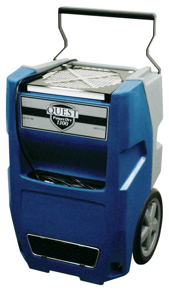 Quest PowerDry 1300 Dehumidifier - 64 Pints *DISCONTINUED* This item has been discontinued, Please try our selection of Dehumidifiers for an alternative. The Quest PowerDry 1300 combines the high performance of larger dehumidifers into a compact, state of the art, rotomold design. A solid- state control panel features a lighted hour meter, pump purge control and a defrost light. The recessed 12-inch wheels, compact design and balanced weight distribution make both the 1300 easy to handle, even in the tightest of spaces. The pleated media air filter is conveniently located on the top of these units, for quick and easy replacement. All of these features are standard on these competitively priced, durable and high performing units from the climate control experts at Quest. Dehumidifies 64 pints/day @ 80°F/60%RH and only uses 5.0 amps. The PowerDry 1300 is constructed of the highest quality components and is protected by a heavy duty ROTO case. Includes a high capacity pleated filter. The superior Merv 7 filtration of the 1300 is designed to capture mold, spores, pollen and dust – effectively cleansing the room of dangerous particles. Lightweight and portable at only 79 pounds with 12 in wheels and retractable handle with 20 ft 120V power cord. Has flexible controls and a small footprint at 17 in x 20 in. Includes an internal pump with 33 ft detachable hose. Warranty and Support: Provided by Quest. 1 year parts and labor • 5 year compressor and refrigerant system Part No.:	4032360 Power: 5.0 Amps, 110V Water Removal: 65 Pints/Day @80°F, 60%RH 144 Pints/Day @90°F, 90%RH Efficiency: 5 Pints/kWh Blower: 190 CFM Operating Temp:	33°F to 100°F W x H x D: 20″ x 30″ x 17″ Weight:	79 Lbs. GrowersHouse has no role in providing technical support or warranty fulfillment on Quest Dehumidifiers. The end user must contact Quest directly and provide a valid sales receipt or date of manufacture. Quest Contact Information: www.questhydro.com Phone: 877-420-1330 E-Mail:info@questhydro.com