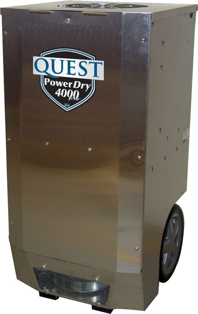 Quest PowerDry 4000 Pro Dehumidifier The PowerDry 4000 is a larger capacity, stainless steel unit designed with the perfect combination of high performance and portability, with its manageable size and weight. The multiple ducting options on the Quest PowerDry 4000 Pro not only allows for ducting both the intake and processed air, but also makes it possible to easily combine this unit with a HEPA air scrubber, air conditioner or desiccant dehumidifier. The PowerDry 4000 is the perfect solution for large, high grade growers. Has over 22 gallons (176 pints) of capacity. Comes equipped with a solid-state control panel that is easy to read and operate. It has an onboard humidistat, which is located on the control panel. This gives the grower the ability to set the unit at a particular humidity level (between 20-70%RH). Dehumidifies 176 pints/day @ 80°F/60%RH, the largest capacity portable dehumidifier available that uses only 10 amps. The Quest Dry RDS 10Made of the highest quality components and is protected by a heavy duty Stainless Steel shell. Includes a high capacity filter that has Merv 11 filtration. Portable design - 12 in wheels and retractable handle with 25 ft 120V power cord. Has flexible controls and a small footprint at 20 in x 23 in. Includes an internal pump with 33 ft detachable hose. This unit is ductable for intake and exhaust. Warranty and Support: Provided by Quest. 1 year parts and labor • 5 year compressor and refrigerant system Part No.:4031120 Power: 10 amps, 110V Water Removal: 176 Pints/Day @80°F, 60%RH Efficiency: 6.2 Pints/kWh Blower: 380 CFM Operating Temp:33°F to 105°F Dimensions: 20″ x 23″ x 40″ Weight:135 Lbs. GrowersHouse has no role in providing technical support or warranty fulfillment on Quest Dehumidifiers. The end user must contact Quest directly and provide a valid sales receipt or date of manufacture. Quest Contact Information: www.questhydro.com Phone: 877-420-1330 E-Mail:info@questhydro.com