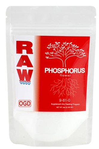RAW Phosphorus 9-61-0 - 2 lb RAW Phosphorus contains 61% pure water Soluble Phosphate (P). This product also contains a small amount of Ammonium Nitrogen (9%) which plants can utilize during bloom. Phosphorus is particularly beneficial during the early rooting stage but also provides energy during fruit and flower production. RAW Phosphorus is ideal for boosting Phosphorus (P) levels, treating deficiencies and creating optimal recipe solutions. Works in conjunction with all nutrient and feeding programs.