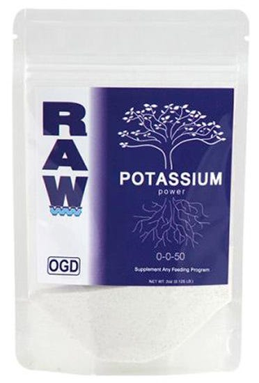RAW Potassium 0-0-50 - 2 oz RAW Potassium contains 50% Water Soluble Potash derived from potassium sulfate. This is the highest concentration of natural Water Soluble Potassium available to the home gardener. During fruiting and flowering, large amounts of potassium are used by the plant in a matter of days which can lead to potassium deficiencies. RAW Potassium is ideal for boosting Potassium (K) levels, treating deficiencies and creating optimal recipe solutions. Works in conjunction with all nutrient and feeding programs. Works in conjunction with all nutrient and feeding programs.