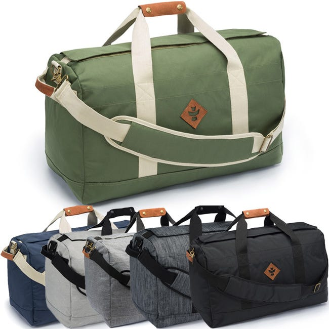 Revelry Supply - The Continental Large Duffle Bag The odor absorbing, water resistant, Revel Supply Continental Large Cargo Duffle Bag is intended for the big haul. Take it anywhere. With an easily accessible stash pocket, this bag pairs perfectly with the Confidant...or a couple of them. This bag is sealed with a rubber-coated zipper underneath an odor-absorbing Velcro flap. Let this bag do the heavy lifting. Features Odor absorbing Water resistant Dual carbon filter Silicone backed nylon Custom protective lining Waterproof zipper Velcro zipper covering Lockable Inner stash pocket End handles Genuine leather accents Removable shoulder strap Metal hardware Benefits What sets these bags above the rest is their ability to encapsulate odors, preventing their escape, and to protect against water damage. The key to their high functionality is our custom system of layers used in each bag. The outermost layer is a rubber-backed nylon which is what makes these bags water resistant and also keeps odors contained within the bag. Working your way into the bag, there is a Dual Carbon Filter. These layers work together to filter out any unwanted odors. Lastly, they have a cotton lining. It is soft to the touch and also helps to protect the longevity of the Dual Carbon Filter. What also sets these bags apart is the quality materials; all bags have rubber-coated zippers, genuine leather accents, and metal hardware. Refresh your bag by simply placing in the dryer for a few minutes—until warm—to release all absorbed odors.