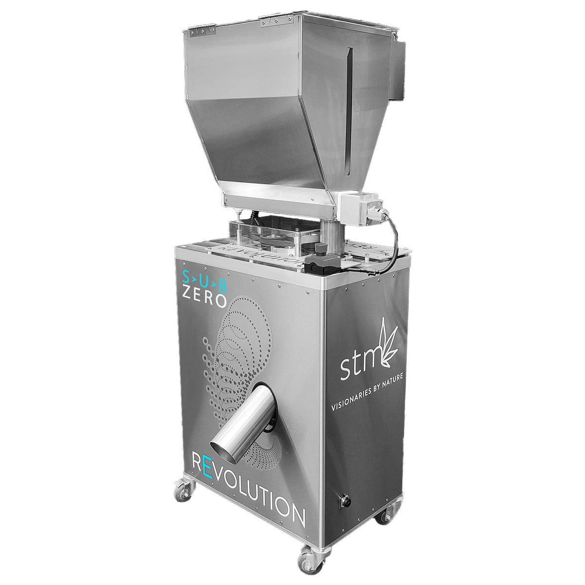 STM Revolution Sub-Zero Commercial Flower Grinder Designed specifically for flower, the grinder delivers a homogenous, consistent grind, optimal for evenly packed pre-rolls and high-yield extraction. Suitable for dry/cured or cryogenically frozen flower, the reimagined Sub-Zero prevents subsequent degradation of volatile terpenes, trichomes, and cannabinoid profiles by grinding in a low temperature-controlled environment.Features 15-30 LBS Per Hour of Dry Flower Interchangeable Fine & Coarse Particle Screens for Extraction & Pre-Rolls Sub-Zero Freezer and Refrigerator Safe Helps Maintain Organic Compounds for Peak Potency, Flavor, and Aroma Self-Regulating, Closed-Loop System to Prevent Clogs Aids in Increasing Uniformity for Higher Efficiency & Yield in Extraction Excellent for Live Resin, Solventless, Pre-Rolls, and Other Post-Harvesting Processes Built-In Pre-Heating Technology & Temperature-Control Auto-Blade Oscillation Creating Scissor-Like Cuts Auger Timing & Blade Speed Control 7%-10% Optimal Moisture Content Consistent and Repeatable Results Made in the U.S. OSHA Compliant INCLUDES [Base Package]: (1) STM Revolution Sub-Zero Grinder w/ Dual-Blade System (1) Fine Particle Screen (1) Coarse Particle Screen (1) Pair of Cut-Proof Safety Gloves (1) 12-Month Parts & Labor Warranty RENOWNED TRAINING & SUPPORT Dedicated STM Client Services Team Exclusive Client Portal with Library of Training Videos and Information IMPORTANT INFORMATION – PLEASE READ: Inquire within for lead time. This is a special order unit and typically maintains an 8-week shipping time from the payment date. Shipping cost does not cover any customs-related charges for international orders. Machine requires 220 V power and 18 load amps (L6-30 25 Amp Plug). Please be advised this machine is meant for material 10% or lower in moisture content to maximize efficacy. Pre-preparation of the material is still necessary to remove sticks and large stems. Biomass is not recommended as this machine is spec