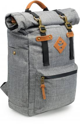 """Revelry Supply The Drifter Rolltop Backpack The Revelry Supply The Drifter Rolltop Backpack's added storage makes it ideal for those longer adventures.. The Revelry Supply The Drifter Rolltop Backpack comes in five colors: black, green, crosshatch grey, navy blue, and striped black and is Odor Absorbing and Water Resistant. Revelry Supply The Drifter Rolltop Backpack Features: Odor absorbing Water resistant Carbon Filter System Rubber-backed nylon Custom protective lining Waterproof zipper Lockable Secret Inner stash pocket Genuine leather accents Metal hardware Dimensions: 20"""" x 13"""" x 6"""" Volume: 23L Refresh your Revelry Supply The Drifter Rolltop Backpack by simply placing in the dryer for a few minutes – until warm – to release all absorbed odors."""