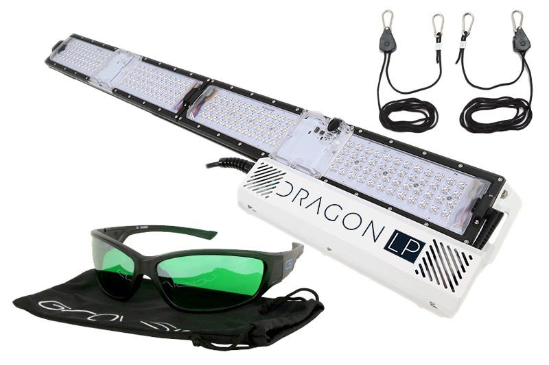 """Scynce LED Dragon LP250 LED Grow Light w/ LED Glasses and Ratchet Hangers *DISCONTINUED* This item has been discontinued, We recommend as an alternative. The Dragon LP250 shines as a low-profile fixture for indoor and vertical veg farming. Designed in collaboration with some of the most demanding botanists, the LP stands less than 2  tall, offers wireless dimming & scheduling, is water submersible, and utilizes Scynce LED's patented optics to delivery a strong 4'x3' light footprint from its slim form factor. With an IP66 waterproof rating, optional wireless connectivity, and unique optics, the LP is the perfect solution for your early-stage growing needs. Designed in collaboration with some of the most demanding botanists, the LP is the go-to fixture when you need a robust, powerful light at an affordable price. *small-scale studies have shown success for later-stage growth, including flowering Suggested Applications: Shelving units, vertical racks, tents, and stand-alone...this light is great for any veg application. Spectrum: 2 channels; Cool (6500k) & Warm (2700k) combine for a versatile spectrum for all stages of vegetative growth. THEIA Wireless Control App: Offers intensity dimming, scheduling, and cloud storage to save custom light recipes all via your phone or tablet. Dragon LP250 Specs Dimensions: 48"""" x 6"""" x 1.5  Power: 250w Optics: patented 120 degree lenses Coverage Area: 4'x'3 Tent Suggestion: 4x2 or 4x4 Included: Mounting Brackets & Pulley Ropes Spectrum: Full spectrum white – 2 channels: white (cool and warm)"""