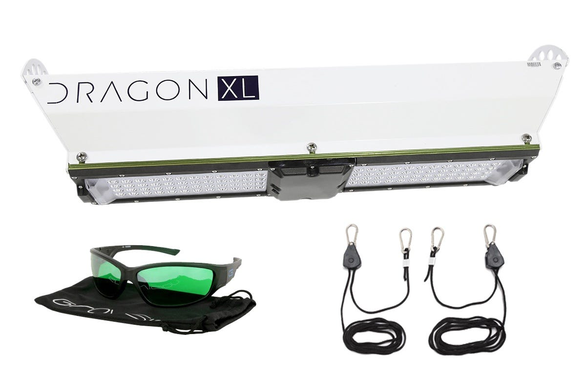 """Scynce LED Dragon XL600 LED Grow Light w/ LED Glasses and Ratchet Hangers *DISCONTINUED* This item has been discontinued, Please try our selection of LED Lights for an alternative. The DRAGON XL is our flagship, high output, small footprint, indoor warehouse or greenhouse solution. With up to 1200w of power, it projects more light onto and into the canopy than any other comparable light. The XL utilizes active cooling with specialized exhaust chambers that help promote transpiration, while the waterproof housing allows it to perform year-in and year-out no matter the environment you need it to operate in. THEIA Wireless Control App: Offers intensity dimming, scheduling, and cloud storage to save custom light recipes all via your phone or tablet. Dragon XL600 Specs Power: 600w Input Voltage: 100 - 277V Amps: 120v-5 / 208v-2.9 / 277v-2.2 Dimensions: 26.5"""" x 7"""" x 5"""" Optics: patented 120 degree lenses (functional range is between 6"""" and 14') Coverage Area: 4'x'4 Flower, 6'x6' Veg/Clone Spectrum: Full spectrum, 4 Channels: white (cool, natural and warm) & red (660nm/720nm) Dimming: full digital control of recipes and scheduling Flux (PPF): 1063 μmol/s (full broad spectrum) at 100% Waterproof Sealing: IP66 Rating (entire light fixture) Thermal Management: Active - IP67 rated fan Certifications: UL, FCC, CE, RoHS, CSA Warrenty: 5 years"""