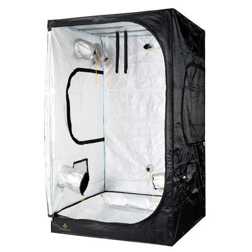 Dark Room Pro II DR120, 48 x 48 x 80 The DarkRoom tents by R & M Supply (compare to Secret Jardin Dark Room Pro II DR120) What's new? 210D fabric has 2.5x tear strength and 3x the abrasion resistance. Webbed interior fabric for better light proofing. Increased light proofing to Level II. Newly engineered corners- 3x more robust than old DR corners. Hook-IT included Black floor mat. A Dark Room is the foundation of a completely self-contained indoor garden, featuring a lightweight, durable, washable interior reflective lining. The frame supports up to 65 pounds of lighting, ventilation or other equipment, and every unit has access ports that accommodate ducting or other equipment. DarkRooms can be assembled without tools, in minutes, by one person, and collapse just as quickly for storage. Dimensions: 48  x 48  x 80  Fits a 4x4 OD Tray Stronger and more durable than previous DR models Portable, lightweight, compact, and easy to assemble 8 total ports: 2 for extraction, 2 for intraction, 2 for cables, 2 for cool tubes White Waterproof tray in bottom Strong, lightproof zipper