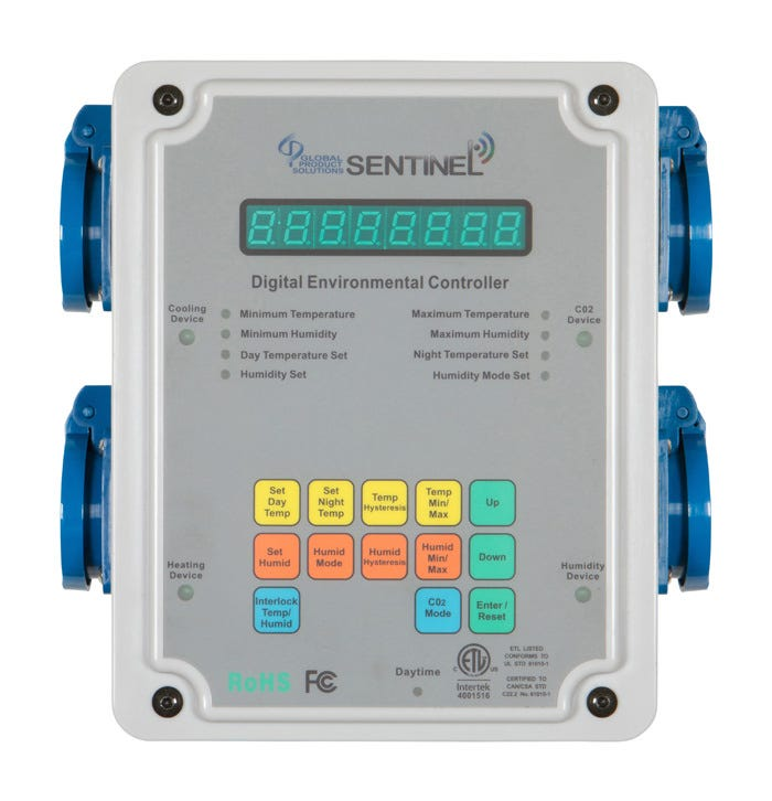 Sentinel DEC-4 Digital Environmental Controller Comes With: New remote combination temperature humidity and light level sensor allows users to take accurate plant-level readings up to 15' away from the DEC-4 base unit. Heavy gauge #14 AWG cables and wire. Super-duty 30-amp relays for long life. Power switch and re-settable 15-amp circuit breaker provides over-current protection. 100% digital Temperature Easy to use pushbuttons that are simple to understand Benefits: Separate Day / Night Cooling setpoints. Separate Day / Night Heating setpoints. Separate Day / Night Humidity setpoints. Minimum / Maximum recall of temperature and humidity readings. Temperature: Two independent outputs to control cooling and heating with separate Day and Night settings for each. Humidity: Can either increase or decrease the amount of humidity inside the area with separate Day and Night settings. CO2 Coordination: Allows for basic coordination of CO2 enrichment with daytime settings, ventilation cycles etc. This allows for increased growth, lower cost of CO2 enrichment as well as lower power consumption in your garden. Manufacturer set CO2 enrichment at 1250ppm. How to use: The unit comes with a metal bracket that is first attached to a wall. Secure the bracket to the wall with 2 screws. Then use the 2 thumb screws to secure the enclosure to the bracket. The unit requires a 15-amp power supply. Plug the power cable into a standard Nema 5-15 wall outlet. The built-in circuit breaker will protect the unit from overloads. The device(s) that will be controlled by the DEC-4 must be 15-amp or less COMBINED load. Cooling, Heating, Humidity and CO2 devices each have their own receptacle. The CO2 receptacle will activate a CO2 device independently or coordinated with cooling devices and built-in light sensor. Cooling devices such as ventilation fans or air-conditioners connect to the Temperature Device. A humidifier or dehumidifier can have searate Day and Night settings and is connected to the 