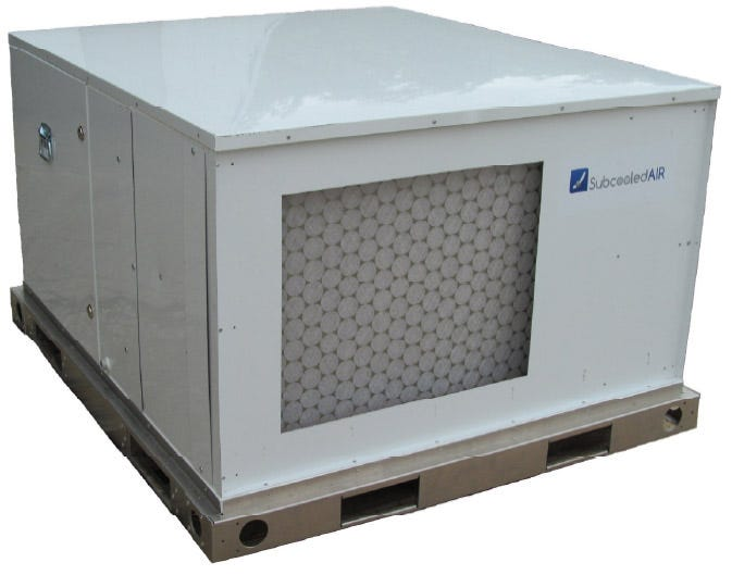 Subcooled Air Grow 20 Dehumidifier - 3000 pints per day This all aluminum, commercial-grade air conditioner and dehumidifier removes over 3,000 pints of water per day from air in your building. In cooling mode it delivers 10 tons of air conditioning at 55 to 60F leaving temperature. In dehumidification mode humidity control to 50%rh can be provided to greenhouses using 80 to 100 lights. Dry air is supplied at near 70 degrees Fahrenheit. A detachable humidistat allows you to set the desired humidity level. Features Can be mounted on floor, ceiling or shelf Stainless steel drain pan and 3/4 inch drain coupling Dual 2400 cfm (nominal) Dayton supply air blower Quiet operation, high static (ductable) Detachable Honeywell humidistat Designed for commercial use Auto defrost allows operation in cool buildings HVAC technician friendly design Connects to standard 20 ton air conditioner condenser unit 2-inch pleated MERV 3 through 13 air filter compartment Aluminum skid with forklift pockets and corner eyes Cabinet constructed from pre-painted aluminum sheet metal Reheat condenser delivers air at room temperature Made in the USA Specifications Dimensions: 74 W x 47 L x 34 H Weight: 700 pounds Power: 230V, single-phase Amperage: 15 amps Warranty: one year Water Removal per day 375 gallons (3000 pints) 80⁰F, 80%rh 300 gallons (2400 pints) 80⁰F, 60%rh 200 gallons (1600 pints) 75⁰F, 50%rh Warranty Information Both unit and 20 ton a/c condenser (not sold with unit) must be installed by certified HVAC technician. Your HVAC technician can get you the best price for a compatible condenser unit. Limited Warranty: One year warranty on any defective parts. Limitation of Liability: To the extent allowable under applicable law, Subcooled Air's liability for consequential and incidental damages is expressly disclaimed. Subcooled Air's liability in all events is limited to and shall not exceed the cost of repair. Shipping damage is not covered under warranty.