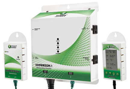 Titan Controls Hyperion 1 Wireless Environmental Controller Absolute total complete control of your grow room from up to 150 feet away without wires, the Hyperion 1 Wireless/Environmental/Lighting controller is the solution! Monitor & control the CO2, temperature and humidity during the day & night periods. Then add a fully functional lighting controller (via trigger cordsets) that includes a high temp shut-off, 15 min cool down with pre-set and custom lighting schedules. It even tells you when to change your light bulb. 15 Amps/120 Volts/ 60 Hz. Titan Hyperion 1 Instructions PDF Download HERE Titan Hyperion 1 Application Diagram PDF Download HERE