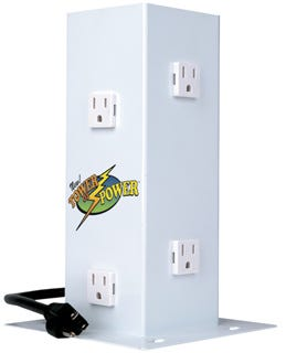HydroFarm Tower of Power - Vertical PowerBar or PowerStrip *DISCONTINUED* This item has been discontinued, Please try our selection of Power Cords for an alternative. Introducing Tower of Power -The Remedy for Packed Power Strips NOTE: Product is not a surge protectorSay goodbye to over-crowded, under-utilized power strips. Hydrofarm's TOWER OF POWER offers 6 outlets with enough room to accommodate even the bulkiest timers and adapters. The Tower of Power will handle all you can throw at it. In your home office it will organize all your computers and peripheral devices. In the shop it's sturdy enough to power your tool array. And for the hydroponics gardener, the Tower of Power will accommodate all your timers.The TOWER OF POWER features: Enough space between outlets to allow you to plug in all your timers and gadgets - NO MORE WASTED OUTLETS! Easy accessibility for all your appliances 6-foot, heavy-duty power cord delivers electricity where it's needed most Sturdy construction-can be mounted on walls or under furniture 6 120V outlets total On/Off switch