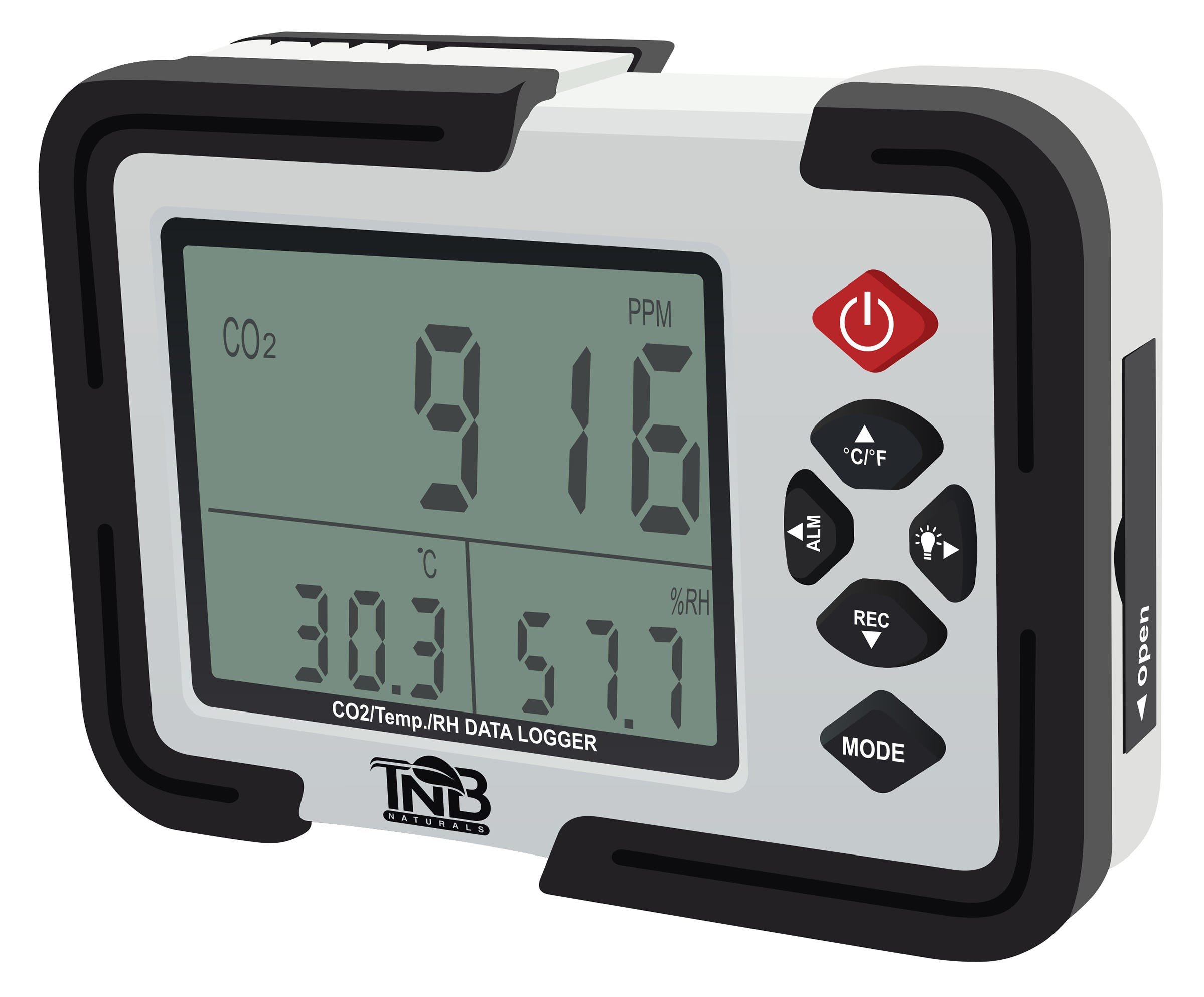 TNB Naturals CO2 Monitor *DISCONTINUED* This item has been discontinued, Please try our selection of Controllers, PPM Monitors for an alternative. TNB Naturals CO2 Monitor TNB Naturals CO2 Monitor and Thermo Hygrometer is a sleek portable unit that has been developed to monitor and display CO2 concentration, ambient temperature and relative humidity, along with the year, month, date and time. The monitor has a 3.5 inch LCD display and is USB compatible with a logging memory of 12,700 units. It has an accuracy of + or - 50 ppm and has the capability to read CO2 levels as high as 9999 ppm. The unit features a built-in warning alarm for high levels of CO2 and the option to display the temperature in Celsius or Fahrenheit. It has a built-in backlight that illuminates the display so that monitoring levels in the dark or during the night cycle can be done with ease. The monitor has the ability to operate from the standard power adapter that is included or 4 AA batteries. The light weight of the unit (only 9.2 oz) makes it easy to transport or move around from one area to another if necessary. It also comes with a hard plastic carrying case for those on the move, making it extremely easy to use and very versatile.