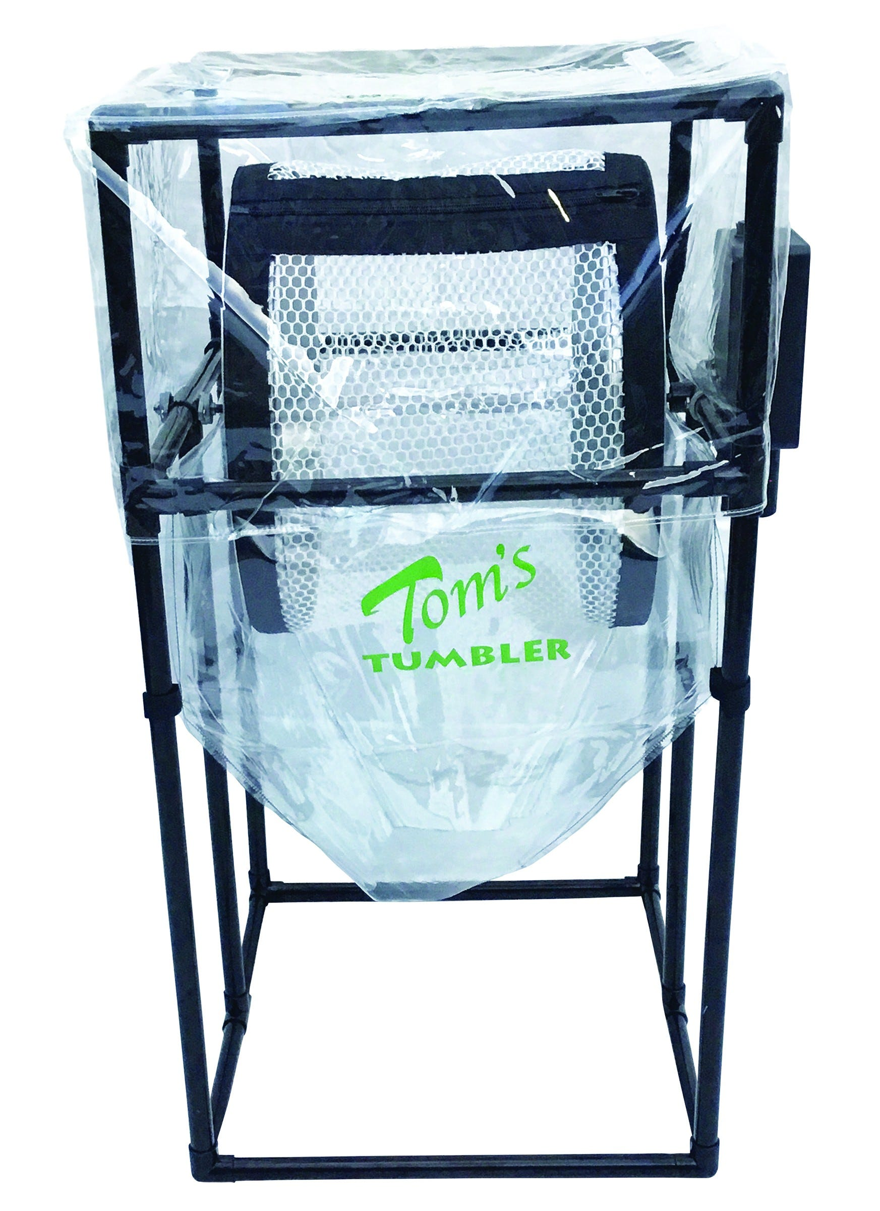 Tom's Tumbler TTT 1900 Trimmer *DISCONTINUED* This item has been discontinued, Please try our selection of Trimmers for an alternative. Tom's Tumbler TTT 1900 Trimmer The TTT 1900 System includes a clear funnel flow bag and a clear removable dust cover so you can watch the trimming process. It includes two nets which go right on the tumbler after you trim and sort. The trimming and sorting is done by using the 1/2 and 1/4 inch mesh nets. Put your trim in the net with some dry ice and easily catch trim in your bag and dust cover. The TTT 1900 is sleek and efficient for trimming volumes of 1-2 pounds per 7-minute cycle. That equates to up to 12 pounds per hour. The frame is made of durable furniture-grade PVC with an aluminum axle. It includes a heavy-duty motor with speed control, metal drums, 1/2 inch and 3/8 inch mesh nets and a new quick release catch bag. Nets are machine washable. You may need to lubricate the zippers over time. Tom's Tumbler TTT 1900 Trimmer comes with a one year warranty. See how a Tom's Tumbler works: