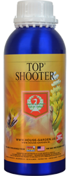 House & Garden - Top Shooter House & Garden Top Shooter forces your plants into starting a new flowering cycle after the regular cycle has stopped, significantly increasing the fruit's total weight. Use Top Shooter at the end of the flowering period for the last three weeks. Adjust your base nutrient to EC-Value of 1.2. Prepare your nutrient container by first adding your base nutrient to the water container. Dilute top shooter in a small amount of warm water and stir well, then add to your nutrient reservoir. Only use Top Shooter when your plants are sufficiently healthy, it is a VERY STRONG agent that requires a lot from your plant. Anyone that has ever used House & Garden (and many people who haven't) know the benefits of Shooting Powder. This sparkling bud expander has amazed gardeners across the world. Shooting Powder has the unique ability to reinvigorate flowering plants during the last 3 weeks of their flowering cycle. The unique composition of this product is a well guarded company secret but what we can tell you is that the high levels of Phosphorous and Potassium will help your flowering plants to ripen and reach their full potential. At House & Garden we are consistently asked for Shooting Powder in larger sizes. Due to the hygroscopic nature of Shooting Powder this is something that we cannot provide. To accommodate the requests House & Garden has created a liquid version of Shooting Powder called Top Shooter. Top Shooter is perfect for larger scale growers, it is extremely concentrated with a dilution rate of 2.5 – 3.8 mL per gallon and is available in 250mL and 1L sizes. The 250mL size will treat up to 100 gallons and the 1L size will treat up to 400 gallons of nutrient solution. NOTE: At room temperature Top Shooter is a very thick liquid and may require heating to allow pouring. If you find this to be necessary place the metal can in hot water to heat up the liquid inside. Top Shooter, like Shooting Powder, is compatible with all nutrients. House & Garden Nutrient Calculato