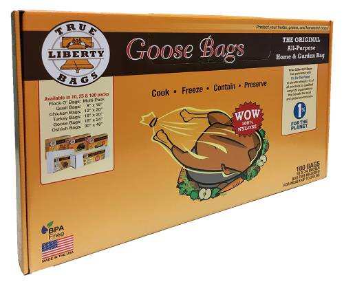 True Liberty Goose Bags 18 in x 24 in (100/Pack) True Liberty® Bags are THE ORIGINAL All-Purpose Home & Garden bag. These bags are used by commercial organic farmers, food storage experts, and hobby growers to keep their foods fresh, healthy, and delicious. True Liberty® Bags are safe to use in your conventional oven, freezer, rice cooker, slow cooker, or stove top, as they are resistant to cold, heat, fat, grease, oil, and water. True Liberty® Bags have an excellent aroma barrier, which makes for a fantastically versatile, all-around home and garden bag. BPA Free Food safe storage bags hold up to 20lbs of food meals, herbs or grains. 100 Bags, 18in x 24in size with bag ties included.