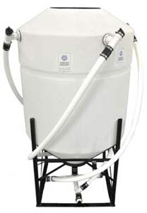 Vortex Brewer - VB250 Compost Tea System - 250 Gal VB250 Vortex Brewer® 250 gallon tank Completely pre-plumbed and assembled 100-watt air pump 6′ premium applicator hose Weight 265 lbs. Dimensions: W: 48″ x L: 48″ x H: 80″ Includes: 72 oz. cup Earth Compound = microbeinoculant * 64 oz. Earth Tonic = mineral catalyst * 1 gal. Earth Kelp = microbe food * 1.5 gal. Earth Syrup = microbe food * 1 oz. Storch Oil = defoamer * Enough for 2 brews NOTE: We do not recommend air diffusers. The Vortex Brewer® will revolutionize and help diversify your home garden, farm, or business. It is a conversation starter and will be a significant source of revenue and customer retention for any store or nursery. We like to say…it sucks people in! The Vortex Brewer® is Unlike ANY Other Compost Tea Brewing System Making compost tea is not a new concept. Many remember their grandparents loading up a sock full of compost or bat guano to let steep in a bucket for a day on the farm, or used the liquid remnants of a worm or compost bin on their houseplants. This concept has been enhanced by way of  actively aerated compost tea  (AACT) in order to multiply and encourage air-loving beneficial organisms. However, the innovations basically stop there. The basic concept of creating an aerobic living solution has been gussied up and made to look pretty from the outside, with expensive molds and fancy marketing; but inside they all do the same thing – simply apply air to a stagnant solution, or, merely  extract  existing biology from a humus source. They agitate, they don't circulate. The Vortex Brewer® separates itself from other methods of biological activation, by using air to create vortexial circulation. Rather than passively disturbing the solution, the Vortex Brewer® actively blends and circulates the mixture. Vortex Brewer® can be used as an extractor, for mixing organic or hydroponic nutrient solutions, stirring BioEnergetic creations, or to create living water. Many farmers use the Vortex Brewer® as a batch extractor by spi