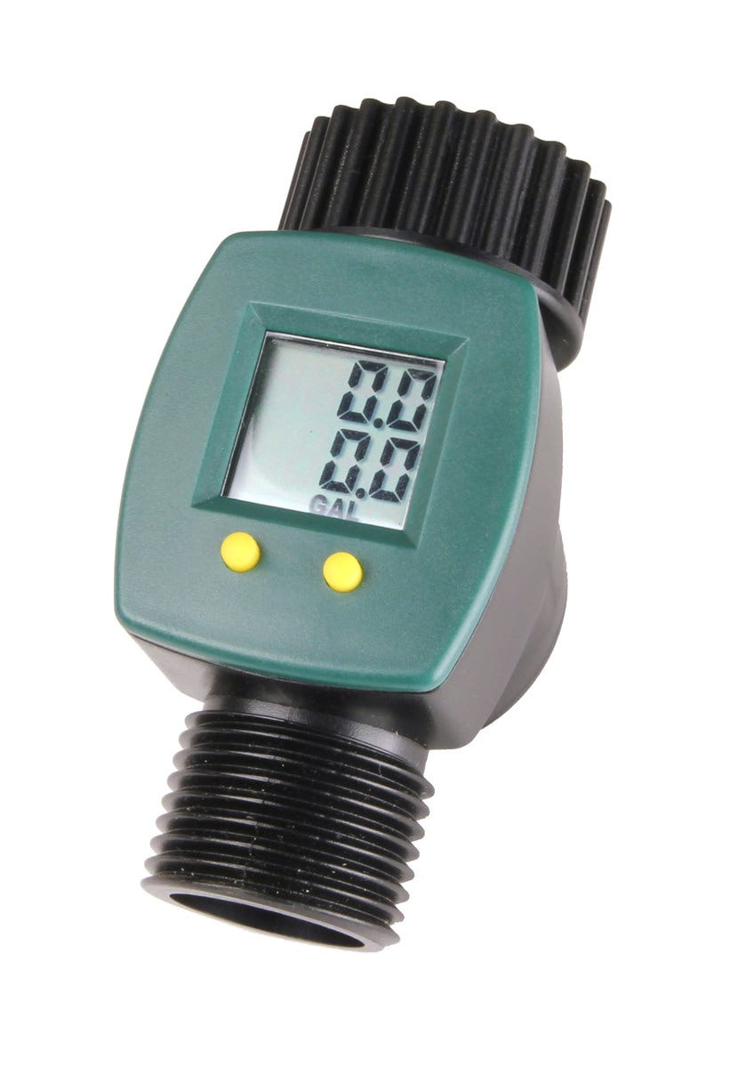 Save A Drop Inline Water Flow Counter Meter It is widely accepted that talking to your plants is great for their health. If they could speak to you, what would they say? Probably that they're being over-watered. Meet your garden's wants and needs with the Save A Drop Meter. Over-hydrating plants and shrubs can diminish plant health. Use the easy to read meter to measure how much water is flowing out of the hose. While in use, it calculates both accumulative watering volume and singular waterings, the amount of fluid used in between when you start and stop the hose. Take,  guess-timates,  out of the equation when watering your lawn. Attach the gauge to your sprinkler and know when the time is right to turn your hose on and off. Being aware of water consumption benefits your home, garden, greenhouse, and the planet. The Save A Drop Meter is an important tool to use when keeping your home happy and healthy. Features Prevents over-watering Easy to read LCD display Calculates both single-use and total water consumption Accurately measures to a 1/10th of a gallon Rugged waterproof housing