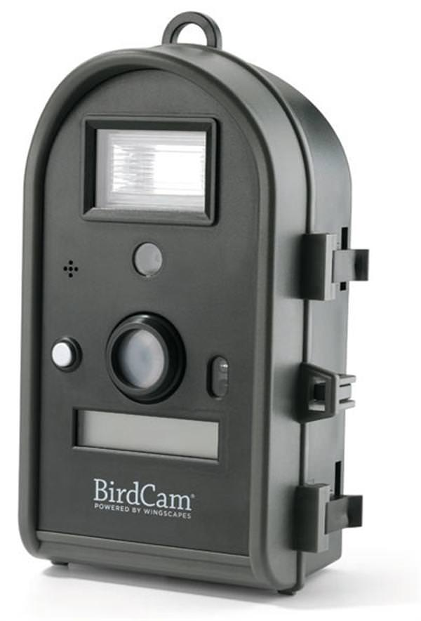 BirdCam 2.0 w/ Flash *DISCONTINUED* Rediscover Your Backyard!The whole family will love discovering backyard nature with the help of the Audubon Bird Camera. This innovative Audubon bird camera takes crystal-clear photos and videos of your backyard birds while you're away. You'll be amazed by what's going on in your own backyard! Weatherproof, motion-activated, and easy-to-use, this digital BirdCam captures photos and videos with sound. It records to an SD card or internal memory (32MB) and makes it easy to e-mail or print your images. No tools, wiring, or software required! Plus, you can experiment with many mounting options - point it at a bird house or bird bath, or simply set it on the ground. Benefits:•Takes digital photos or videos with sound•Easy to use right out of the box•Rugged, weatherproof construction so you can leave unattendedStunning Bird Photos and VideosThe Audubon BirdCam uses innovative  Smart Sensor  technology that ignores feeder movement and minimizes  empty  shots, so you won't have to worry about sorting through blank images. You'll get frame after frame of amazing bird photography that shows you wildlife in an up-close, unobtrusive way. Easy Setup and Versatile MountingSetting the Audubon bird camera up is extremely easy. Adjustable focus keeps your bird photographs sharp at any distance 18-inches or farther and a laser aiming device helps insure aim is accurate. Included with the Audubon BirdCam is a pair of stretch cords that can be used to attach the Audubon BirdCam to any stationary object, such as a post or tree. A standard tripod mount on the bottom attaches to any standard tripod or the optional BirdCam Mounting Arm. The Audubon BirdCam is rugged and built to be used outdoors. It is intended to sit and wait where the human eye can't (or won't). Great Teaching Tool for KidsThe Audubon BirdCam is a great way to teach tech-savvy kids about nature. They'll love learning about the wildlife in their own backyards. The whole family can enjo
