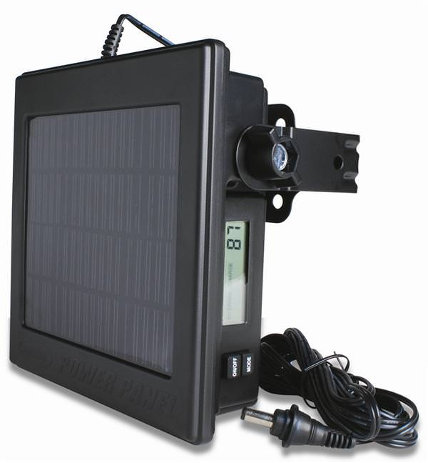 Camera Solar Power Panel The Wingscapes' PowerPanel ensures a continued power source for the BirdCam and the PlantCam. With the PowerPanel you never have to worry about missing a shot because of dead batteries. Wingscapes' PowerPanel uses innovative software to combine a solar panel and built-in 12-volt battery, extending camera life indefinitely in the field. Features:Solar panel with built-in 12-volt batteryLCD screen displaysCompatible with the Audubon BirdCam, BirdCam 2.0 with Flash and the Timelapse PlantCamEasily mount to tree, pole or the BirdCam Universal Tripod10-ft. cord allows placement in optimal sunlightWeather resistant LCD screen displays:Real-Time Solar Value: aids in mountingDaily Solar Average: daily solar efficiencyWeekly Solar Average: weekly solar efficiencyInternal Charge Level: internal battery level