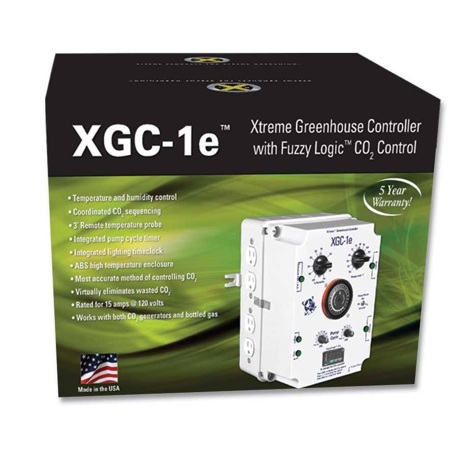 C.A.P. XGC-1e Xtreme Greenhouse Controller (DISCONTINUED) C.A.P. is no longer in business, we recommend going with an alternative, comparable replacement controller such as the Titan Controls Saturn 6 Digital Environmental Controller w/ CO2 PPM Control and Titan Controls Helios 7 -- 8 Light Controller 240V. The XGC-1e is the best all in one controller ever made. It controls all of the main devices required in today's modern hydroponic garden including Digital CO2 PPM Control. Your garden's HID lights are controlled by a precision 24-hour time clock. Two outlets are provided for your lights. Other functions such as supplemental CO2 and hydroponic pumps are also coordinated with the time clock. Two of the outlets on the XGC-1e are for your exhaust fans or air conditioner. A built-in thermostat and humistat handle the growing area's temperature and humidity control functions. The two pump outlets allow your water pumps to be controlled by the built in Adjustable Recycling Timer. A selector switch allows the user to determine if the hydroponic pumps are to cycle only when the lights are ON or 24 hours a day. An auxiliary NIGHT outlet is activated when the lights are turned off. It is perfect for controlling humidity at night using a dehumidifier or for a separate heater. Supplemental CO2 is coordinated to work in harmony with your exhaust fan's temperature and humidity control functions. When the exhaust fans are running, the CO2 outlet is disabled to conserve CO2. A Fuzzy Logic CO2 Digital PPM Controller is built in to control your CO2 generator or valve. Fuzzy Logic (tm) can be compared to a good driver. As a good driver approaches a red light, he or she applies the brakes to gradually slow down BEFORE getting to the intersection. Fuzzy Logic(tm) uses the same idea to keep the CO2 level at your desired setting, without going over the set point..The XGC-1e is rated for 15 amps @ 120 volts. Instructions