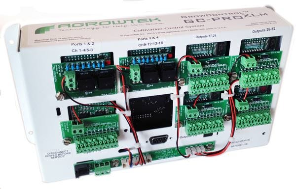 AgrowTek GC-ProXLM Control System OEM / Manufacturer Edition of GC-ProXL - Complete Cultivation Control Systems for Climate & Hydroponics Control Same great features of GC-ProXL, simplified enclosure for installation directly into electrical enclosures. Designed for integration into OEM electrical enclosures. Available in standard Agrowtek GrowControl models as specified below, or contact us for a specialized feature set unique to your application. Agrowtek's engineers can add and change features, sensors and more for specialized applications. What Can AgrowTek Pro Control System Do? Sends Email / MMS Alerts - Get Updates from Any SmartPhone Access Your Grow From the Internet Monitor from afar via Video Cameras Control EVERYTHING, lights, fans pump, dosers, heating, door/ window switches, outside temps, motion or smoke detectors Complete Climate Control Fully automate multiple zones with independent controls for cooling, heating, humidification, dehumidification, CO2 injection and ventilation with boost timing, light timers and light flip box controls, and more! Featuring a large array of different timers including irrigation timers, precision repeat cycle timers (in minutes, seconds, or hours) 24-hour timers, 24-hour cancellation timers, combination 24-hour cycle timers, off-delay timers, re-start delay timers and hour meters. Greenhouse models feature multi-stage heating, cooling and humidity control for advanced integration of hvac, fans and vents. AgrowTouchTM Touch Screen An industrial strength touch screen interface is available which allows fast and easy access to all settings in the controller including manual over-rides of all equipment, adjustment of all settings, graphical display and history of all sensor readings, alarm history display and more. On-screen help provides the operator with quick tips and describes each function of the controller. For economical or starter applications, the GC-ProXL can be adjusted and monitored with the free PC software. Power Relays The controller's low-v