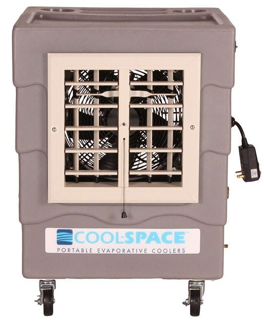 Cool-Space WAVE12 - 12  Evaporative Cooler Introducing the WAVE12 from Cool-Space. The WAVE12 features a high-efficiency 12 inch fan combined with a 4  thick, cross-corrugated, angle-fluted formulated cellulose treated with a thermosetting resin to keep you and your space cool. Measuring only about 2 ft. x 2 ft. x 2.5 ft, the WAVE can fit in most places and last for a long time with its durable polyethylene housing and 10 gallon water reservoir. This unit is capable of variable speeds with a direct drive. Cooling covers up to 800 square feet. Features Built-in 10 gallon water reservoir. Standard electrical outlet and a garden hose or supply tank are all that's needed for use. Inline water pressure regulator. Quiet, comparable to a shower or dishwasher. Cooling coverage area of 800 square feet. Ground fault protection electrical cord for safety and included cord wrap for storage. 2-year industry warranty (1 year for pump). Edge coated cooling media for durability and performance. Tool trays and cup holders located on top of unit. Tough, UV resistant polyethylene housing. Swivel, locking casters for easy maneuvering. Oscillating louvers. Specifications Fan Amperage: 0.43-2.1 Amps Shipping weight: 59 lbs. Dimensions: 23 x22 x28  Supports inlet pressure up to 120 PSI Power Supply: 110 V/1ph/0.9A minimum branch circuit. Cooling Media: 4  deep, with an area of 2.25 square feet. Air flow (in cfm): 300-2,200 Fan: 12  diameter, 1/3 hp, axial