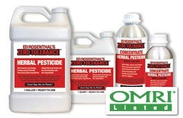 Zero Tolerance Herbal Pesticide Concentrate Organic gardeners have a new way to get rid of spider mites, molds and other pests. Ed Rosenthal's Zero Tolerance Pesticide is now OMRI Listed. Both the Ready-to-use and Concentrate products can be used for organic production. Even the most meticulous garden can have problems with spider mites. Good sanitation and air filters help, but sometimes you just have to spray. Ed blends together several herbal oils for a pesticide that attacks mites in multiple ways, breaking up infestations quickly. The herbal oils evaporate fully so the gardener can use it within a week of harvest. Made from Mother Earth's finest ingredients, The OMRI Listing adds another level of assurance to gardeners. ZT is 100% Vegan and even smells good. Zero Tolerance eliminates Spider Mites, Aphids, Thrips, Whiteflies, Ants, Scale, Gnats, Root Aphids, and Caterpillars. Available in quarts or gallons of Ready-to-Use formula, or quarts of concentrate (makes 5 gallons). Zero Tolerance recently received it OMRI seal of approval for being 100% organic.
